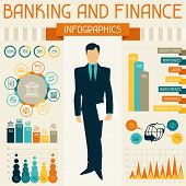 Banking and finance infographics.