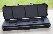 stock photo of ar-15  - Rifle case with foam that is formed for an AR15 - JPG