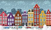 picture of unique landscape  - Vector illustration of dutch town in winter days  - JPG