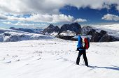 Winter trekking in the Dolomites, Sella Group, Italy, Europe
