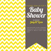 stock photo of chevron  - Unisex Baby Shower Invitation  - JPG