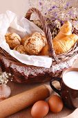 Still life with fresh pastries and a cup of milk