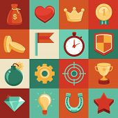 stock photo of time-bomb  - Vector game elements in flat style  - JPG