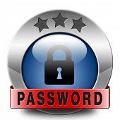 password protected icon or button data protection by using strong safe passwords recover and change