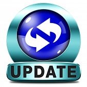 Update software now and here to the latest newest version or new edition, button banner or icon