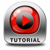 tutorial icon  learn online video lesson or class, website education button