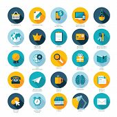 Set of flat design icons for E-commerce, Pay per click marketing, Responsive web design, SEO, Reputa poster