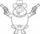 Black And White Bulldog Cowboy Character Holding Up Two Revolvers