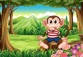 Illustration of a boastful monkey sitting above the stump