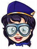 foto of air hostess  - Illustration of a head of an air hostess on a white background - JPG