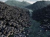 stock photo of junk-yard  - tire dump - JPG