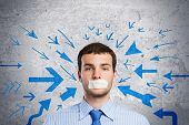 image of freedom speech  - Young handsome businessman with adhesive tape on mouth - JPG