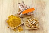 Turmeric rhizome, powder and capsules