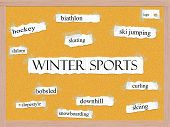 stock photo of luge  - Winter Sports Corkboard Word Concept with great terms such as skating luge slalom and more - JPG