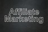 Finance concept: Affiliate Marketing on chalkboard background