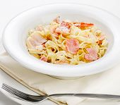 pic of carbonara  - Pasta Carbonara on a white plate - JPG