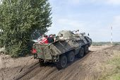 BORNE SULINOWO, POLAND - AUGUST 16: Driving on a military range during