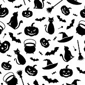 pic of witches cauldron  - Black seamless pattern with Halloween symbols on a white background - JPG