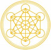 stock photo of tetrahedron  - Metatrons Cube and Merkaba derived from the Flower of Life - JPG
