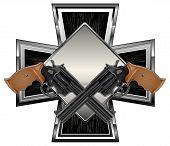 picture of crossed pistols  - Two black guns against cross background - JPG