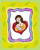 stock photo of heartwarming  - Illustration of Mother breastfeeding her baby available in Vector and Raster - JPG