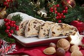 stock photo of walnut-tree  - Traditional German Christmas cake  - JPG