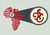 stock photo of microscopic  - Illustration concept of Ebola originating from Africa vector and raster - JPG