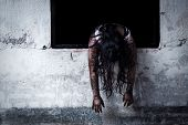 image of scary haunted  - The scary Zombie Girl In Haunted House - JPG