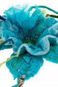 picture of glass-wool  - a Marine blue flower made from wool - JPG