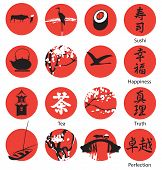 stock photo of ox wagon  - set of vector emblems in red circles in the Chinese or Japanese style of art - JPG