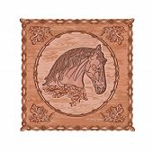 picture of woodcarving  - Horse and oak leaves and acorns woodcarving hunting theme vintage vector illustration - JPG