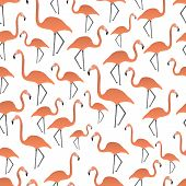 picture of flamingo  - a lot of orange flamingos seamless pattern - JPG
