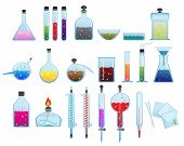 stock photo of retort  - Set of laboratory glassware and equipment on a white background - JPG