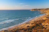 stock photo of gibraltar  - Atlantic Ocean coastal landscape. Morocco Gibraltar strait ** Note: Soft Focus at 100%, best at smaller sizes - JPG