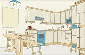 foto of interior sketch  - Illustration of an outline sketch of a kitchen interior - JPG