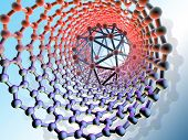 image of graphene  - Illustration representing the future of nanotechnology dominated by fullerene bucky balls - JPG