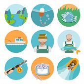 foto of rod  - Set of river fisherman boat rod icons in flat style on circles vector illustration - JPG