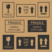 stock photo of fragile  - Fragile shipping labels vector illustration - JPG