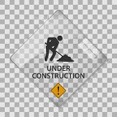 stock photo of overhauling  - Under construction glass vector illustration - JPG