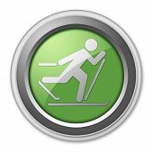 stock photo of nordic skiing  - Icon Button Pictogram with Cross - JPG