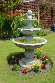 picture of fountain grass  - Summer time home garden fountain on a summers days - JPG