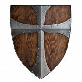 stock photo of crusader  - medieval crusader wooden shield isolated - JPG