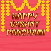 image of saraswati  - Beautiful greeting card design for Happy Vasant Panchami with flowers decoration on pink background - JPG