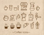 stock photo of latte  - Coffee icons execution lines in minimalistic style symbol coffee cup - JPG