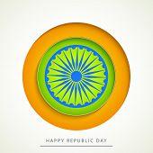 picture of ashoka  - Glossy sticky design with Ashoka Wheel for Happy Indian Republic Day celebration - JPG