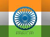 foto of ashoka  - Happy Indian Republic Day celebration concept with shiny Ashoka Wheel on glossy national flag background - JPG