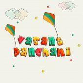 stock photo of saraswati  - Kiddish colorful text Vasant Panchami with kites on clouds decorated background - JPG