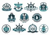 stock photo of roping  - Large retro set of dark blue marine labels logo and emblems with anchors wheels sailboats lighthouse ribbon banners ropes chains and stars - JPG