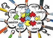 foto of partnership  - Teamwork Team Connection Strategy Partnership Support Puzzle Concept - JPG