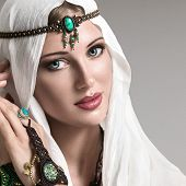 stock photo of arabic woman  - Portrait of young beautiful woman arabic style fashion look - JPG